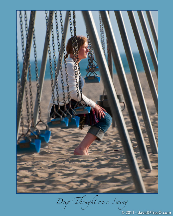 Deep Thought on a Swing - Santa Monica, California - May 18, 2009