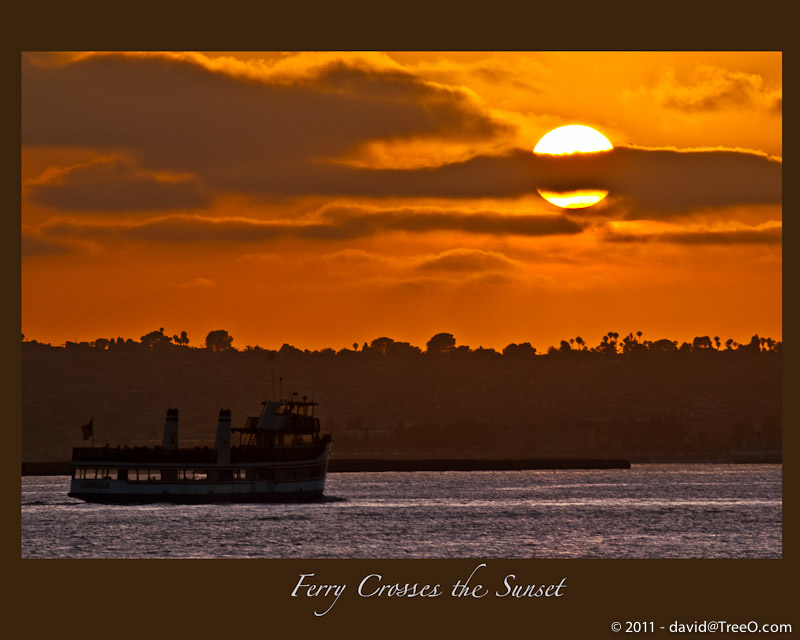 Ferry Crosses the Sunset - Seaport Village, San Diego, California - July 24, 2009