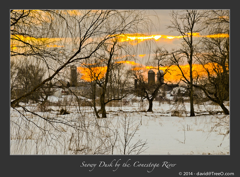 Snowy Dusk by the Conestoga River