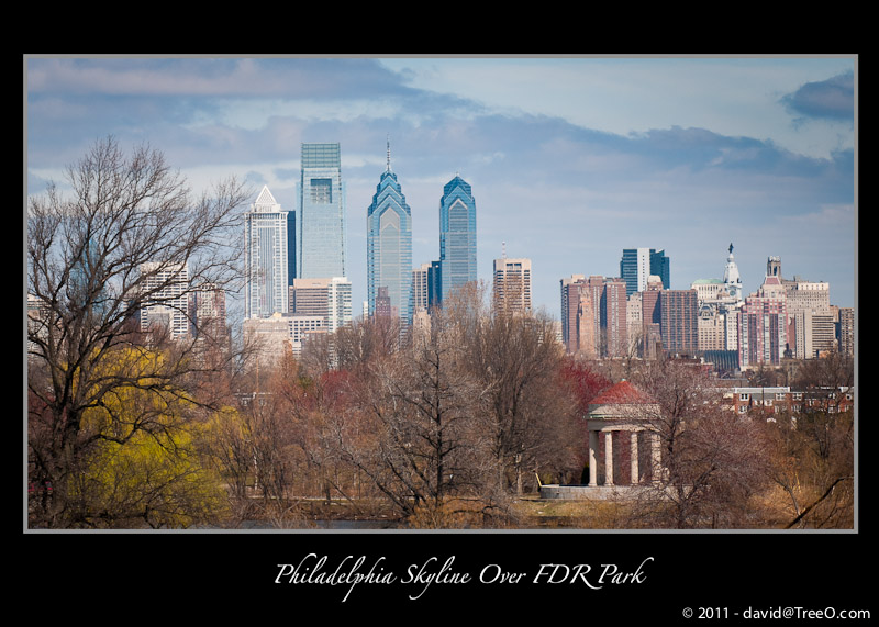 Philadelphia Skyline Over FDR Park - From I-95 South, Philadelphia, Pennsylvania - March 22, 2011