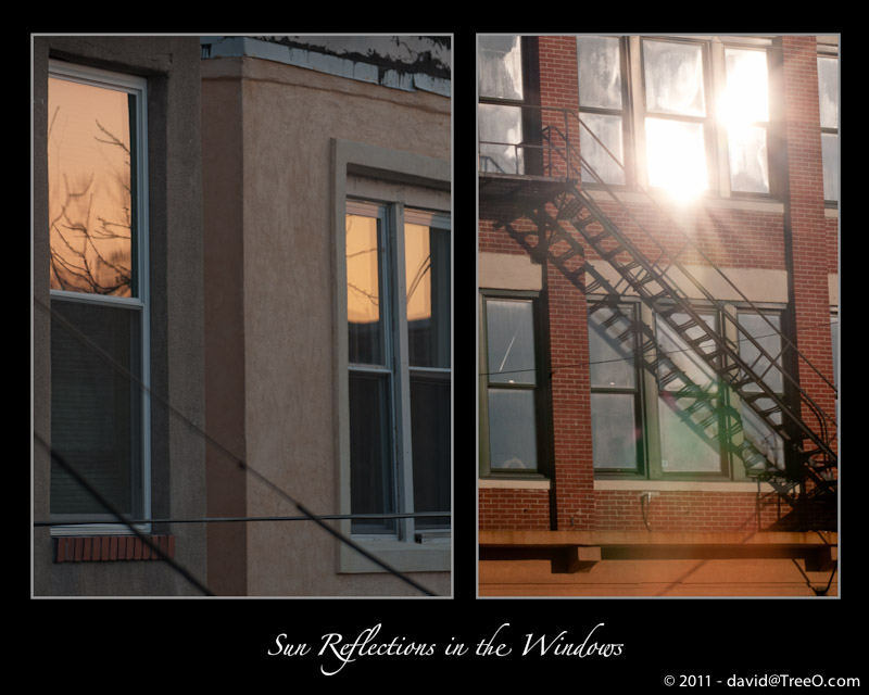 Sun Reflections in the Windows - (right) Morrisville, Pennsylvania - January 9, 2011 - (left) South Philly - February 12, 2011