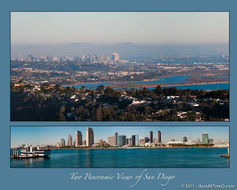 Two Panoramic Views of San Diego - San Diego, California skyline - July 12, 2009 and April 21, 2009
