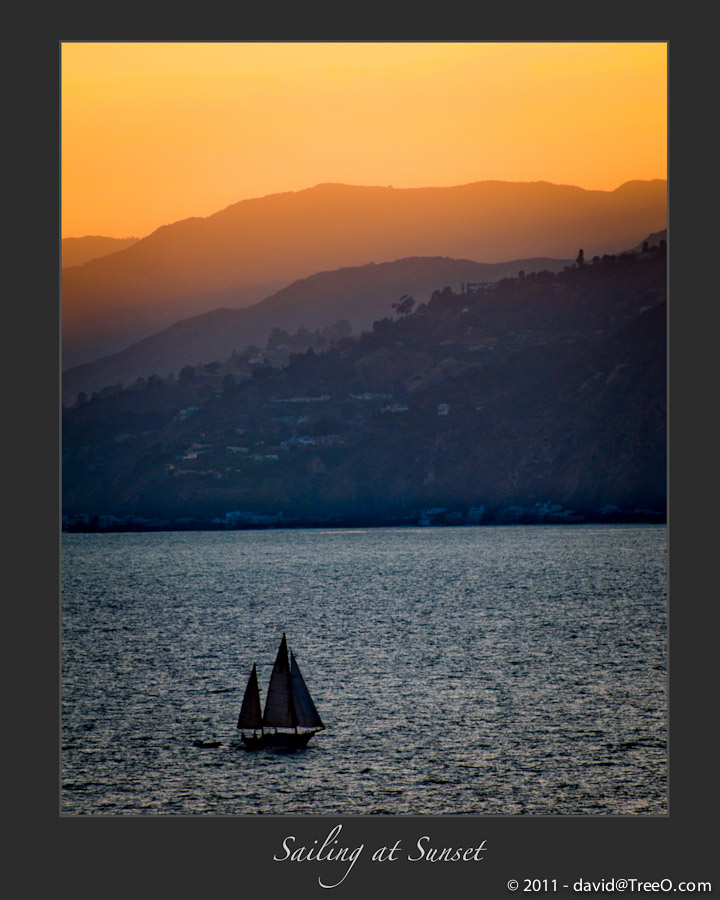 Sailing at Sunset - Santa Monica, California - June 7, 2009