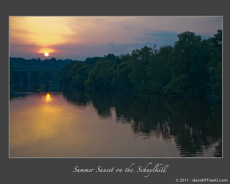 Summer Sunset on the Schuylkill - View of the Schuylkill River from Falls Bridge, Philadelphia - June 21, 2011