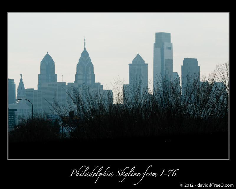 Philadelphia Skyline from I-76 - Philadelphia, Pennsylvania - February 27, 2011
