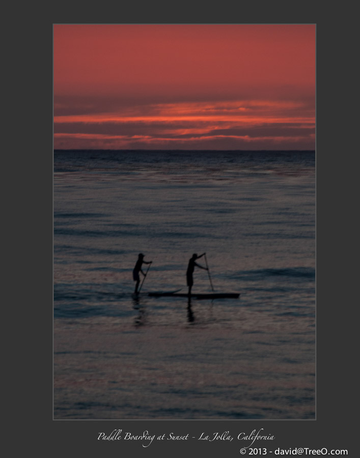 Paddle Boarding at Sunset - La Jolla, California
