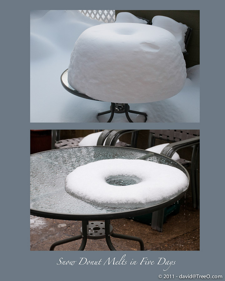 Snow Donut Melts in Five Days