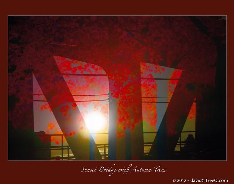 Sunset Bridge with Autumn Trees
